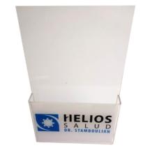 Portafolleto de acrilico con aplicacion de vinilo impreso