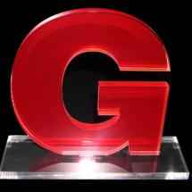Premio de acrilico Fondeado de vinilo impreso traslucido