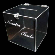 Urna de acrilico con aplicacion de vinilo de corte